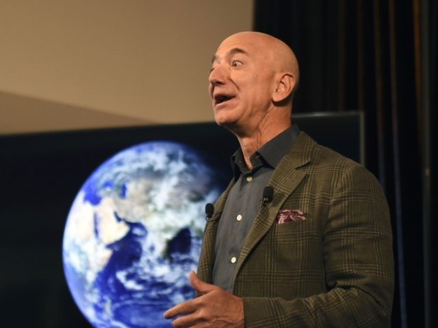 Amazon Founder and CEO Jeff Bezos speaks to the media on the companys sustainability efforts on September 19, 2019 in Washington,DC. - Amazon CEO Jeff Bezos announced Thursday the new Climate Pledge, with the goal of reaching the Paris climate accord goals 10 years early. Amazon will become the first …