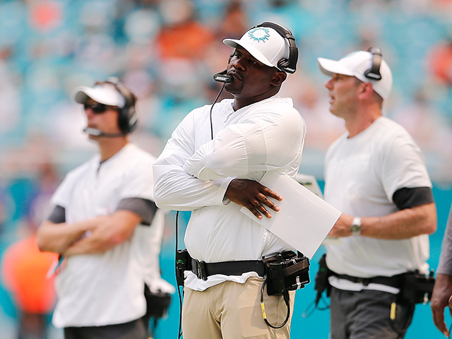 Head coach Brian Flores of the Miami Dolphins reacts against the Baltimore Ravens during the second quarter at Hard Rock Stadium on September 08, 2019 in Miami, Florida. (Photo by Michael Reaves/Getty Images)
