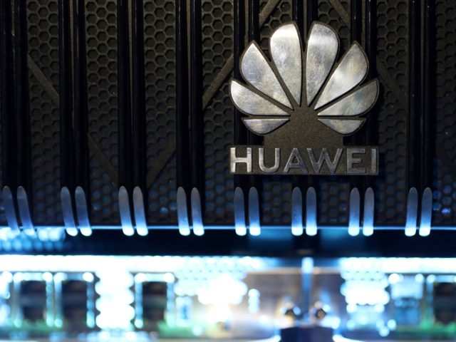 A logo is pictured on a Huawei NetEngine 8000 Intelligent Metro Router during a 5G event in London, on February 20, 2020. - Washington has the right to block US federal agencies from buying products by Huawei on cybersecurity grounds, a judge has ruled, dismissing the Chinese telecom giant's legal …