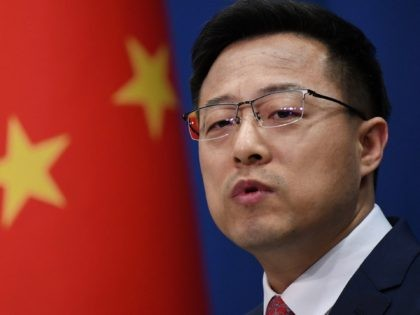 Chinese Foreign Ministry spokesman Zhao Lijian speaks at the daily media briefing in Beijing on April 8, 2020. (Photo by GREG BAKER / AFP) (Photo by GREG BAKER/AFP via Getty Images)