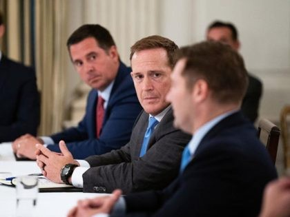 WASHINGTON, DC - MAY 08: Rep. Ted Budd (R-NC) (C) joins fellow Congressional Republicans for a meeting with U.S. President Donald Trump in the State Dining Room at the White House May 08, 2020 in Washington, DC. Trump insisted that the national economy will recover this year from the damage …
