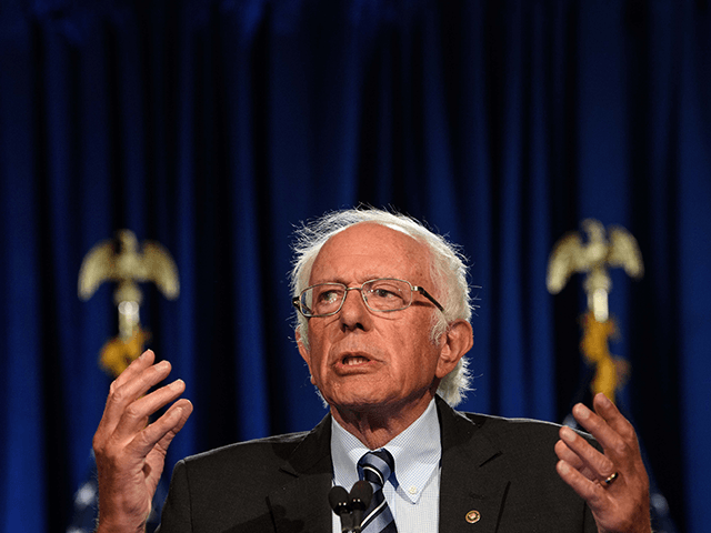 """US Senator Bernie Sanders, Independent of Vermont, speaks at George Washington University in Washington, DC, on September 24, 2020. - Sanders warned that the US faces an """"unprecedented and dangerous moment,"""" as US President Donald Trump questions the legitimacy of mail-in ballots and suggests he might not accepts the election …"""