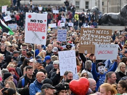 Protesters gather in Trafalgar Square in London on September 26, 2020, at a 'We Do Not Consent!' mass rally against vaccination and government restrictions designed to fight the spread of the novel coronavirus, including the wearing of masks and taking tests for the virus. (Photo by JUSTIN TALLIS / AFP) …