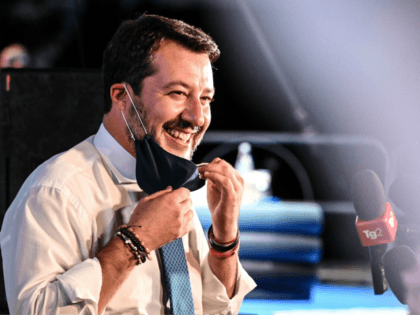 Head of the far-right Lega party and Italian senator, Matteo Salvini reacts as he addresses the media within a rally of the party in Catania, Sicily, on October 2, 2020 on the eve of Salvini's trial in which he will face charges over allegedly illegally detaining migrants at sea while …
