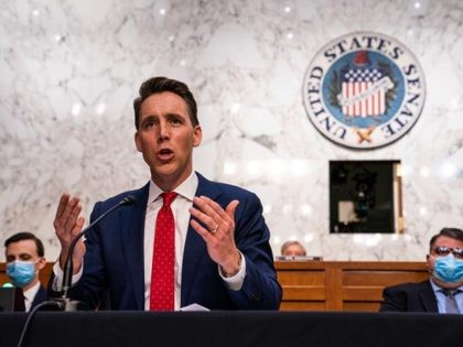 WASHINGTON, DC OCTOBER 14: Senator Josh Hawley (R-MO) during the Senate Judiciary Committee hearing of Supreme Court nominee Amy Coney Barrett on October 14, 2020 in Washington, DC. With less than a month until the presidential election, President Donald Trump tapped Amy Coney Barrett to be his third Supreme Court …