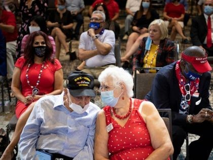 Supporters wait for US President Donald Trump to speak about protecting americas seniors, on October 16, 2020, at Caloosa Sound Convention Center & Amphitheater in Fort Myers, Florida. (Photo by Brendan Smialowski / AFP) (Photo by BRENDAN SMIALOWSKI/AFP via Getty Images)