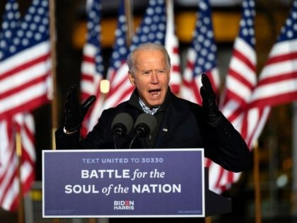 Democratic Presidential candidate and former US Vice President Joe Biden speaks during a Drive-In Rally at Heinz Field in Pittsburg, Pennsylvania, on November 2, 2020. (Photo by JIM WATSON / AFP) (Photo by JIM WATSON/AFP via Getty Images)