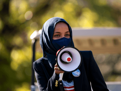 Congressional candidate Rep. Ilhan Omar (D-MN) speaks during a get out the vote event on the University of Minnesota campus on November 3, 2020 in Minneapolis, Minnesota. After a record-breaking early voting turnout, Americans head to the polls on the last day to cast their vote for incumbent U.S. President …