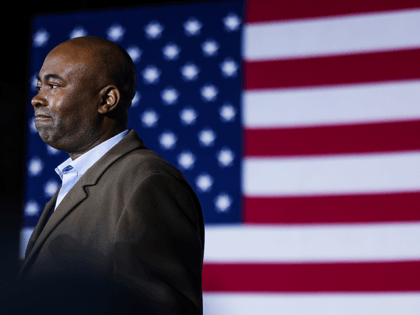 Democratic Senate candidate Jaime Harrison speaks to supporters after conceding to his opponent, incumbent Sen. Lindsey Graham (R-SC), on November 3, 2020 in Columbia, South Carolina. Graham won a fourth term in the senate with his reelection tonight. (Photo by Michael Ciaglo/Getty Images)