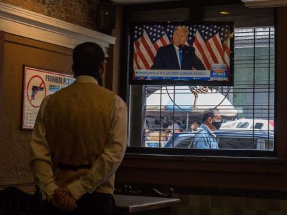 US President Donald Trump is displayed on a television screen at a restaurant in Caracas, Venezuela, on November 4, 2020, amid the COVID-19 coronavirus pandemic. (Photo by Cristian Hernandez / AFP) (Photo by CRISTIAN HERNANDEZ/AFP via Getty Images)