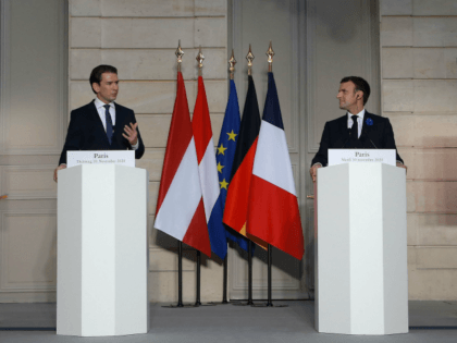 French President Emmanuel Macron (C-R) and Austrian Chancellor Sebastian Kurz (C-L) attend a video summit about an EU-wide response to recent attacks in Europe blamed on Islamist radicals, along with Dutch Prime Minister Mark Rutte (L), German Chancellor Angela Merkel (R), European Council President and European Commission President at the …