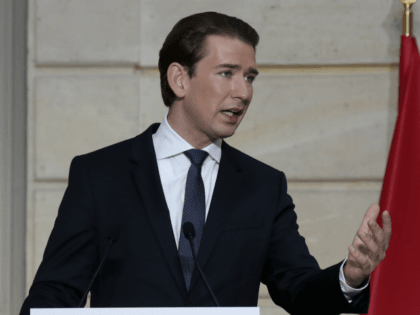 Austrian Chancellor Sebastian Kurz delivers his speech during a conference with French President and a videoconference with Dutch Prime Minister, German Chancellor, European Council President and European Commission President at the Elysee Palace, in Paris, on November 10, 2020. - The leaders of France, Germany, Austria and the EU meet …
