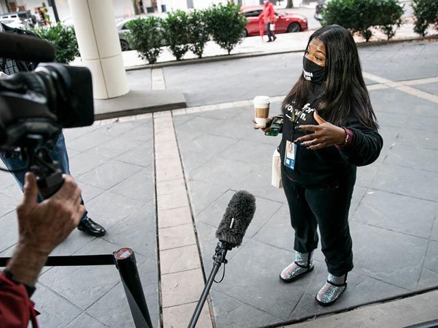 WASHINGTON, DC - NOVEMBER 12: Rep.-elect Cori Bush (D-MO) speaks to the press outside of the Hyatt Regency hotel on Capitol Hill on November 12, 2020 in Washington, DC. Rep.-elect Bush is a community activist and the first Black woman to represent Missouri in congress. (Photo by Sarah Silbiger/Getty Images)