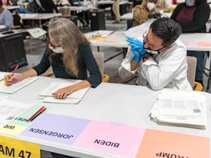 LAWRENCEVILLE, GA - NOVEMBER 16: Gwinnett County election workers handle ballots as part of the recount for the 2020 presidential election at the Beauty P. Baldwin Voter Registrations and Elections Building on November 16, 2020 in Lawrenceville, Georgia. Officials are hoping to finish the hand counting of ballots before the …