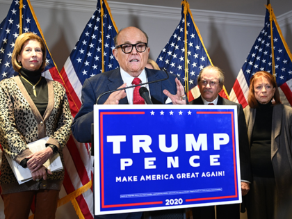 Trump's personal lawyer Rudy Giuliani speaks during a press conference at the Republican National Committee headquarters in Washington, DC, on November 19, 2020. (Photo by MANDEL NGAN / AFP) (Photo by MANDEL NGAN/AFP via Getty Images)