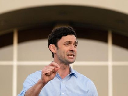 JONESBORO, GA - NOVEMBER 19: Democratic U.S. Senate candidate Jon Ossoff speaks at a campaign event on November 19, 2020 in Jonesboro, Georgia. Democratic U.S. Senate candidates Raphael Warnock and Jon Ossoff are campaigning in the state ahead of their January 5 runoff races against Sen. Kelly Loeffler (R-GA) and …