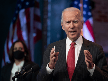 US President-elect Joe Biden speaks after a meeting with governors in Wilmington, Delaware, on November 19, 2020. - Biden said today he would not order a nationwide shutdown to fight the Covid-19 pandemic despite a surge in cases. (Photo by JIM WATSON / AFP) (Photo by JIM WATSON/AFP via Getty …