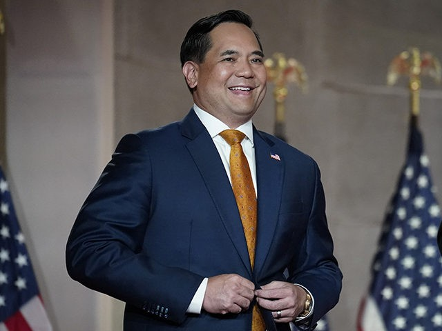 WASHINGTON, DC - AUGUST 27: Attorney General of Utah Sean Reyes arrives onstage to pre-record his address to the Republican National Convention at the Mellon Auditorium on August 27, 2020 in Washington, DC. The convention is being held virtually due to the coronavirus pandemic but includes speeches from various locations …