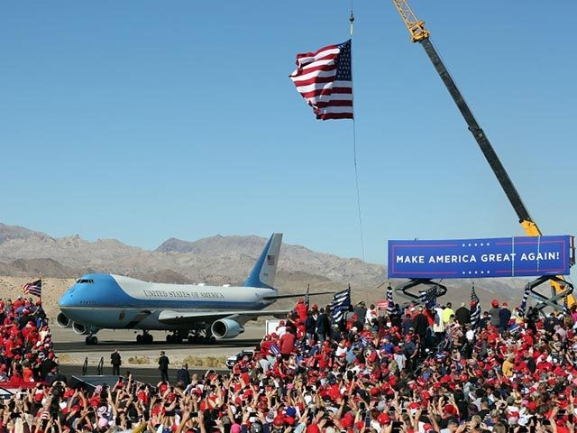 BULLHEAD CITY, ARIZONA - OCTOBER 28: U.S. President Donald Trump arrives at a campaign rally aboard Air Force One on October 28, 2020 in Bullhead City, Arizona. With less than a week until Election Day, Trump and Democratic presidential nominee Joe Biden, are campaigning across the country. (Photo by Isaac …