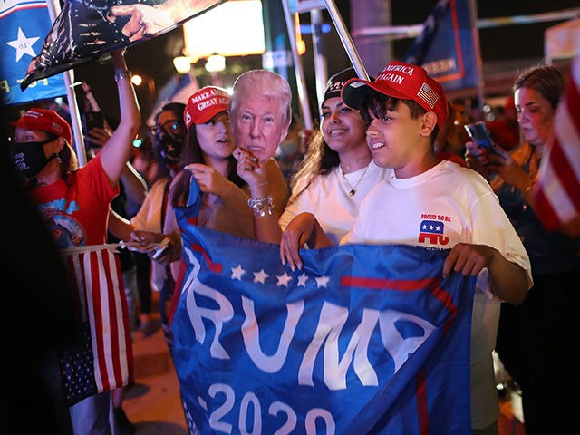 MIAMI, FLORIDA- NOVEMBER 03: Supporters of President Donald Trump cheer for him outside of the Versailles restaurant as they await results of the presidential election on November 03, 2020 in Miami, Florida. After a record-breaking early voting turnout, Americans head to the polls on the last day to cast their …