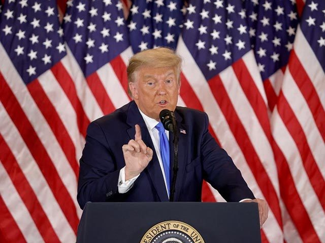 WASHINGTON, DC - NOVEMBER 04: U.S. President Donald Trump speaks on election night in the East Room of the White House in the early morning hours of November 04, 2020 in Washington, DC. Trump spoke shortly after 2am with the presidential race against Democratic presidential nominee Joe Biden still too …