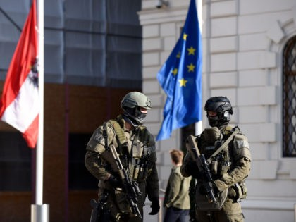 VIENNA, AUSTRIA - NOVEMBER 05: Austrian police special forces protect the Chancellery and President's office after a gunman rampaged on Monday night, on November 05, 2020 in Vienna, Austria. Kujtim Fejzulai, a 20-year-old with Austrian and North Macedonian citizenship who had been radicalized by Islamic extremism, killed four people and …