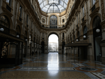 MILAN, ITALY - NOVEMBER 06: A general view of a nearly empty Galleria Vittorio Emanuele on November 06, 2020 in Milan, Italy. The Italian regions of Calabria, Lombardy, Piedmont and Val d'Aosta went into a soft lockdown on Friday November 06. People are able to leave their homes only for …