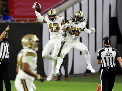 Marcus Williams #43 of the New Orleans Saints celebrates with D.J. Swearinger #36 after intercepting a pass during the second quarter against the Tampa Bay Buccaneers at Raymond James Stadium on November 08, 2020 in Tampa, Florida. (Photo by Mike Ehrmann/Getty Images)