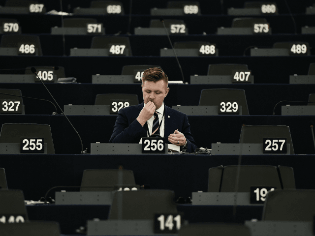 "MEP's Fredrick Federley attends a debate on the current situation in the EU at the European Parliament in Strasbourg, eastern France, on March 09, 2016. European Parliament lawmakers accused the EU on March 9 of giving Turkish President Recep Tayyip Erdogan the ""keys to the gates of Europe"" through a …"