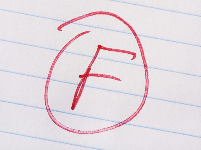 """F"" grade written in red pen on notebook paper."
