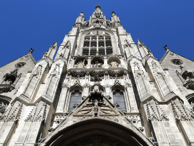 Facade of the medieval gothic cathedral of Lille, France
