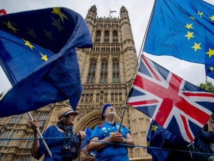 LONDON, ENGLAND - JUNE 12: Anti-Brexit demonstrators gather outside the Houses of Parliament on June 12, 2018 in London, England. The EU withdrawal bill returns to the House of Commons today for the first of two sessions in which MP's will consider amendments imposed by the Lords, and another set …