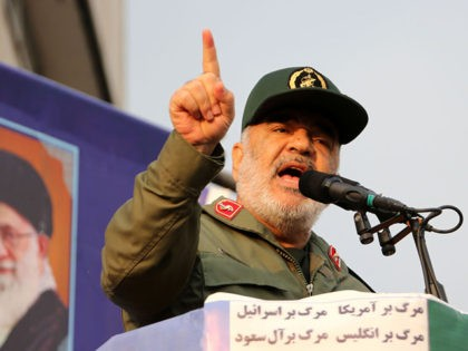 Iranian Revolutionary Guards commander Major General Hossein Salami speaks during a pro-government rally in the capital Tehran's central Enghelab Square on November 25, 2019. - In a shock announcement 10 days ago, Iran had raised the price of petrol by up to 200 percent, triggering nationwide protests in a country …