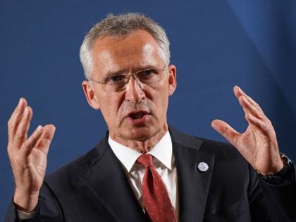 BERLIN, GERMANY - AUGUST 26: NATO Secretary General Jens Stoltenberg speaks to the media upon his arrival at a meeting of European Union member states defence ministers on August 26, 2020 in Berlin, Germany. The meeting, which is taking place as part of Germany's head of the rotating presidency of …