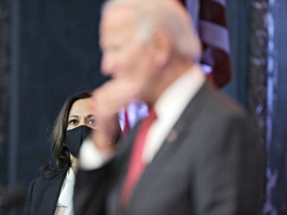 WILMINGTON, DELAWARE - NOVEMBER 19: Vice President-elect Kamala Harris listens as U.S. President-elect Joe Biden speaks during a press conference after a virtual meeting with the National Governors Association's executive committee at the Queen Theater on November 19, 2020 in Wilmington, Delaware. Mr. Biden and his advisors continue the process …