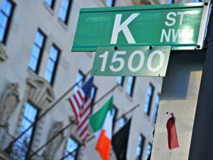 "This January 3, 2011 photo shows a ""K"" Street sign in northwest Washington, DC. Addresses on ""K"" Street are known as a center for numerous think tanks, lobbyists, and advocacy groups. AFP PHOTO/Karen BLEIER (Photo credit should read KAREN BLEIER/AFP via Getty Images)"