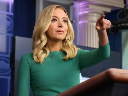 White House Press Secretary Kayleigh McEnany speaks during a White House press briefing in the James Brady Press Briefing Room at the White House on November 20, 2020 in Washington, DC. The White House held a press briefing as U.S. President Donald Trump continues to challenge the results of the …