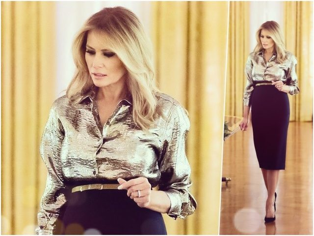 Fashion Notes: Melania Trump Unveils White House Christmas Decorations in Metallic Dries Van Noten