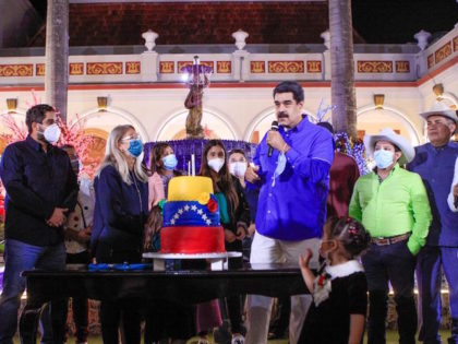 Nicolas Maduro celebrates 58th birthday with giant cake on November 23, 2020.
