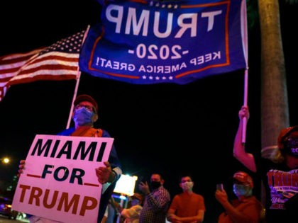 Supporters of US President Donald Trump rally in front of cuban restaurant Versailles in Miami, Florida on November 3, 2020. (Photo by Eva Marie UZCATEGUI / AFP) (Photo by EVA MARIE UZCATEGUI/AFP via Getty Images)