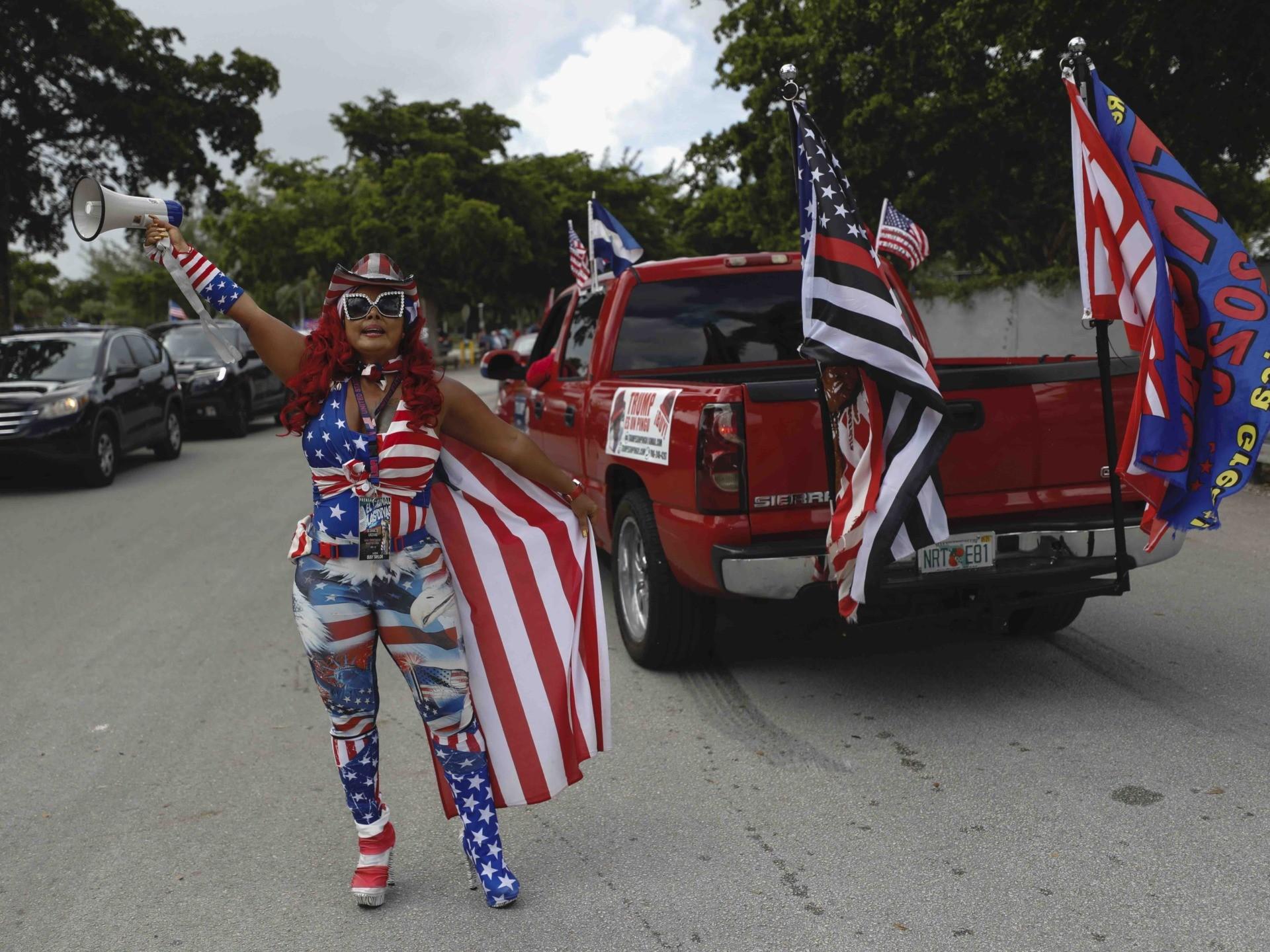 Miami Trump Caravan diva (Rebecca Blackwell / Associated Press)