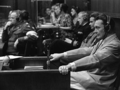 Nazi leader Hermann Goering (1893 - 1946) at the Nuremberg War Crime Trials, where he was sentenced to death. Original Publication: Picture Post - 4200 - Nuremberg Trials - pub. 1946 (Photo by Kurt Hutton/Getty Images)