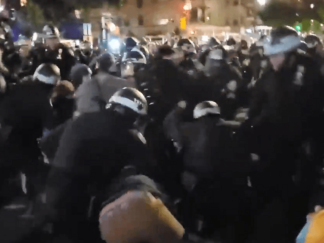 Protesters fight NYPD cops in post-election skirmish. (Twitter Video Screenshot)