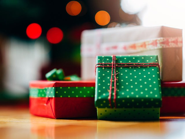 Christmas gifts in red and green wraps