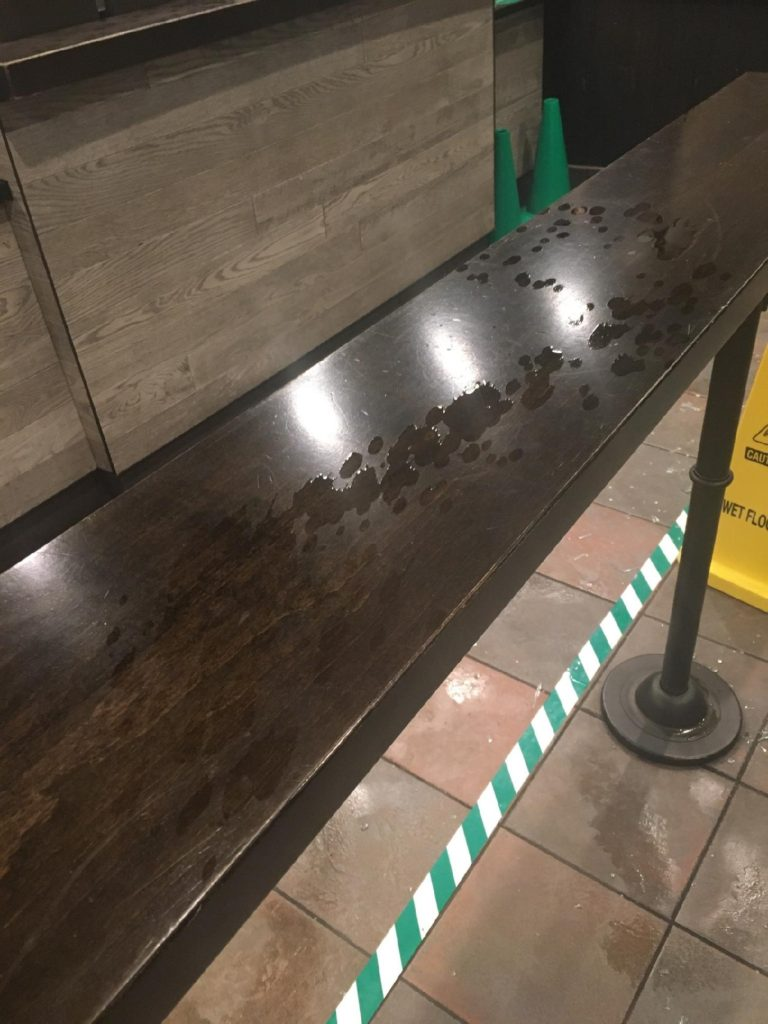 Starbucks vandalized. Police found a flammable liquid throughout the building. Photo: Multnomah Sheriff's Office
