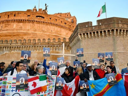 Members of Ending Clergy Abuse (ECA), a global organization of prominent survivors and activists who are in Rome for this weeks papal summit on the sex abuse crisis within the Catholic Church, hold a protest gathering on February 21, 2019 by the Castel Sant'Angelo in Rome . - Pope Francis …