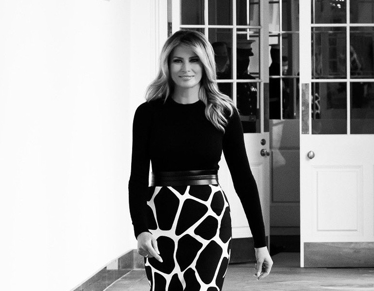 Fashion Notes: Melania Trump Unveils New Rose Garden Art in Bold Valentino - WH3