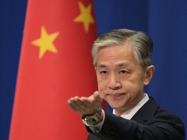 Chinese Foreign Ministry spokesman Wang Wenbin takes a question at the Foreign Ministry briefing in Beijing on November 9, 2020. (Photo by GREG BAKER / AFP) (Photo by GREG BAKER/AFP via Getty Images)