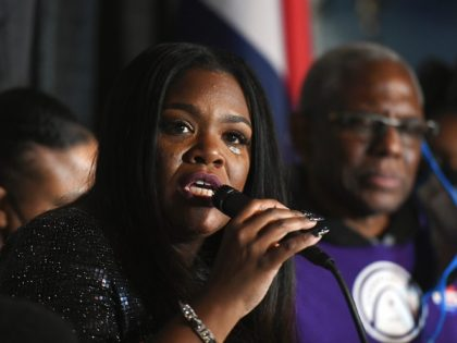 ST. LOUIS, MO - NOVEMBER 03: Congresswoman-elect Cori Bush speaks during her election-night watch party on November 3, 2020 at campaign headquarters in St. Louis, Missouri. With tonight's victory, the Democrat Bush becomes the first African-American woman to be elected to Congress from the state of Missouri. (Photo by Michael …