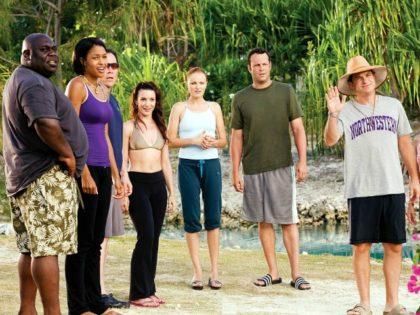 "From left: Faizon Love, Kali Hawk, Jon Favreau, Kristin Davis, Malin Akerman, Vince Vaughn, Jason Bateman and Kristen Bell in ""Couples Retreat."" Universal"